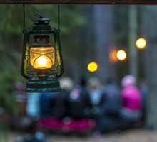 Middag i skogen, företagsevent, skogslägret